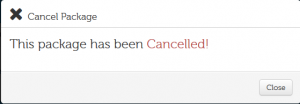 Cancel Package - Cancelled!